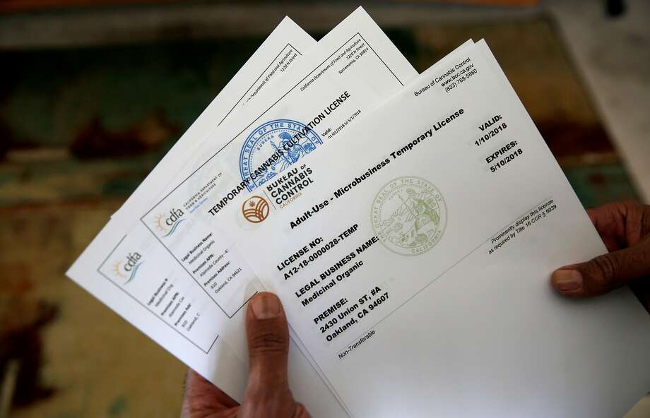 Alexis Bronson holds the state of California licenses he must have to grow cannabis clones. Photo: Michael Macor, The Chronicle