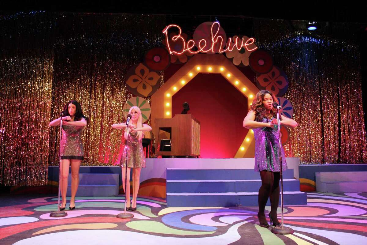 """Patricia Paganucci, Chelsea Dacey and Samantha Rae Bass in a scene from """"Beehive"""" at Seven Angels Theatre."""