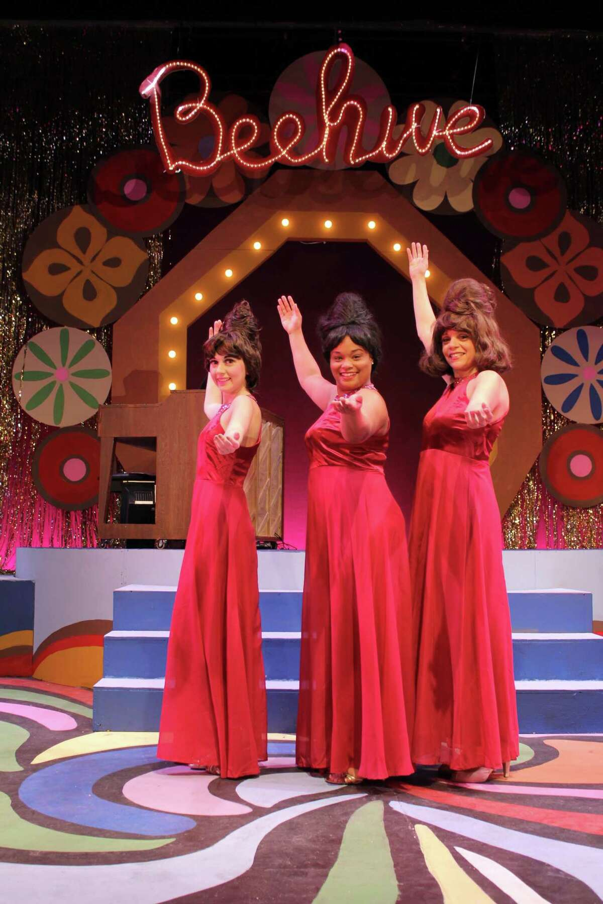 """Chelsea Dacey, Samantha Rae Bass and Patricia Paganucci perform a scene from """"Beehive"""" at Seven Angels Theatre."""