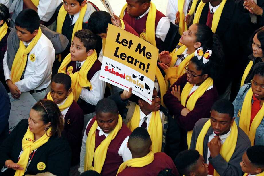 Students from charter, private, parochial and home schools, participate in a school choice proponents rally Tuesday, Jan. 23, 2018, at the Capitol in Jackson, Miss., as prospects remain unclear for House and Senate bills that would expand programs to spend public money to pay for students to attend private schools. (AP Photo/Rogelio V. Solis) Photo: Rogelio V. Solis, STF / Copyright 2018 The Associated Press. All rights reserved.