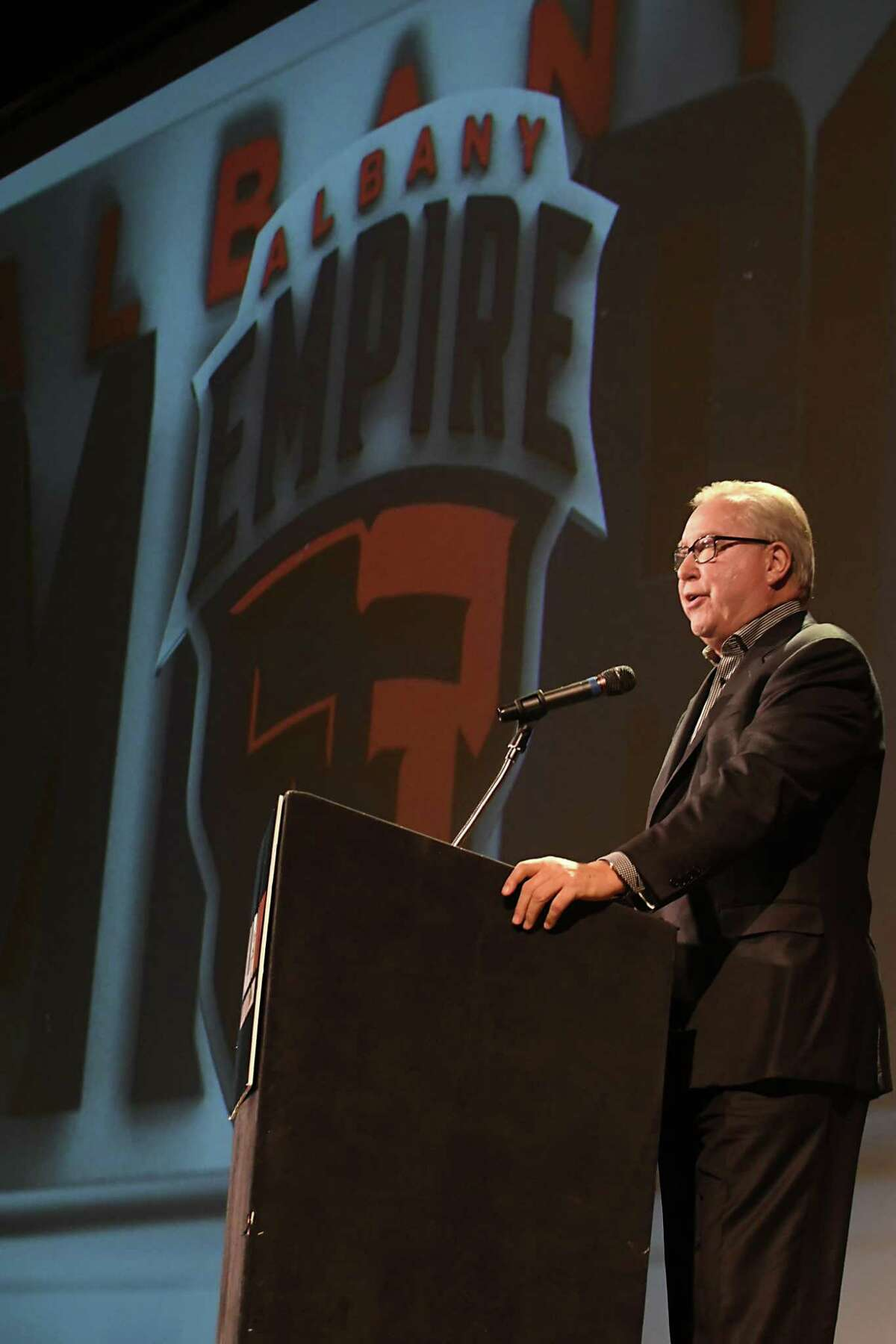 """Former NFL quarterback Ron Jaworski speaks during a news conference at the Palace Theater to reveal """"Albany Empire"""" as the name of the Arena Football League team based at Times Union Center on Tuesday, Jan. 23, 2018 in Albany, N.Y. (Lori Van Buren/Times Union)"""