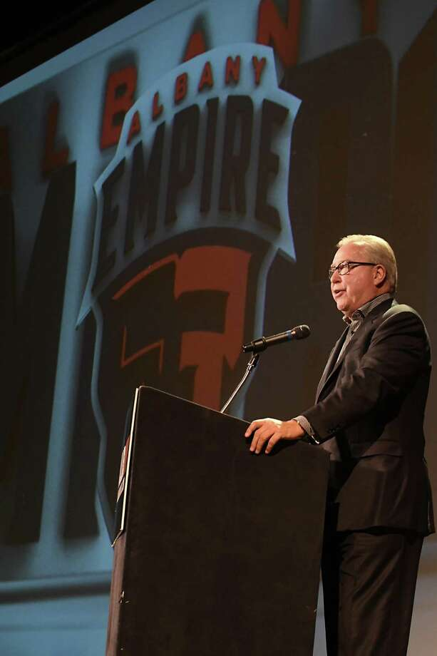 "Former NFL quarterback Ron Jaworski speaks during a news conference at the Palace Theater to reveal ""Albany Empire"" as the name of the Arena Football League team based at Times Union Center on Tuesday, Jan. 23, 2018 in Albany, N.Y. (Lori Van Buren/Times Union) Photo: Lori Van Buren, Albany Times Union / 20042721A"