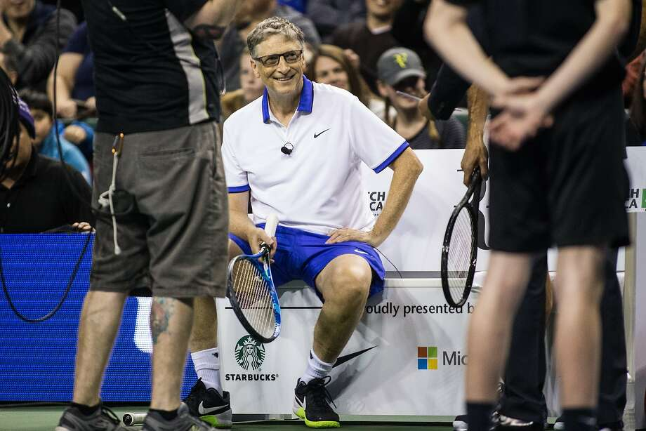 Bill Gates takes a breather between matches during The Match for Africa 4 at KeyArena on Saturday, April 29, 2017. Proceeds of the match benefit the Roger Federer Foundation and its projects to help children in poverty.   (GRANT HINDSLEY, seattlepi.com) Photo: GRANT HINDSLEY, SEATTLEPI.COM