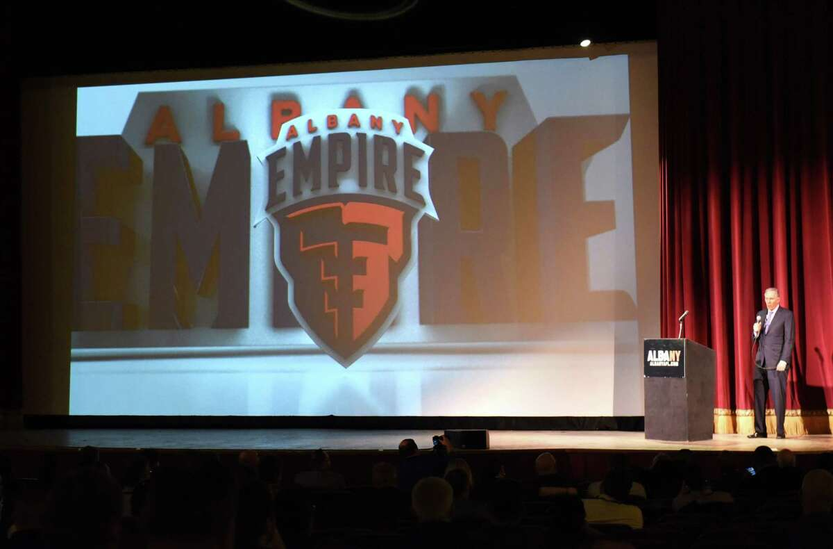 """Ed Nolan, one of the team owners, stands on stage as the name """"Albany Empire"""" and logo is revealed at a news conference at the Palace Theater for the Arena Football League team based at Times Union Center on Tuesday, Jan. 23, 2018 in Albany, N.Y. (Lori Van Buren/Times Union)"""