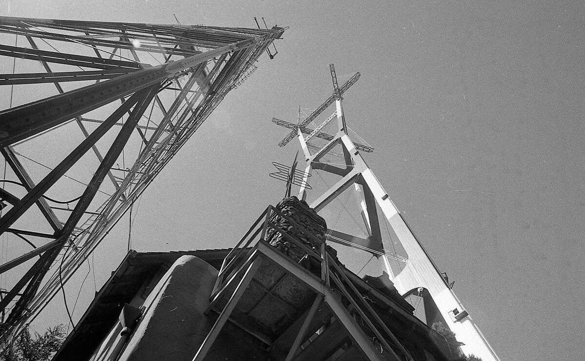 The new Sutro Tower next to the first one and Sutro Mansion April 10, 1974