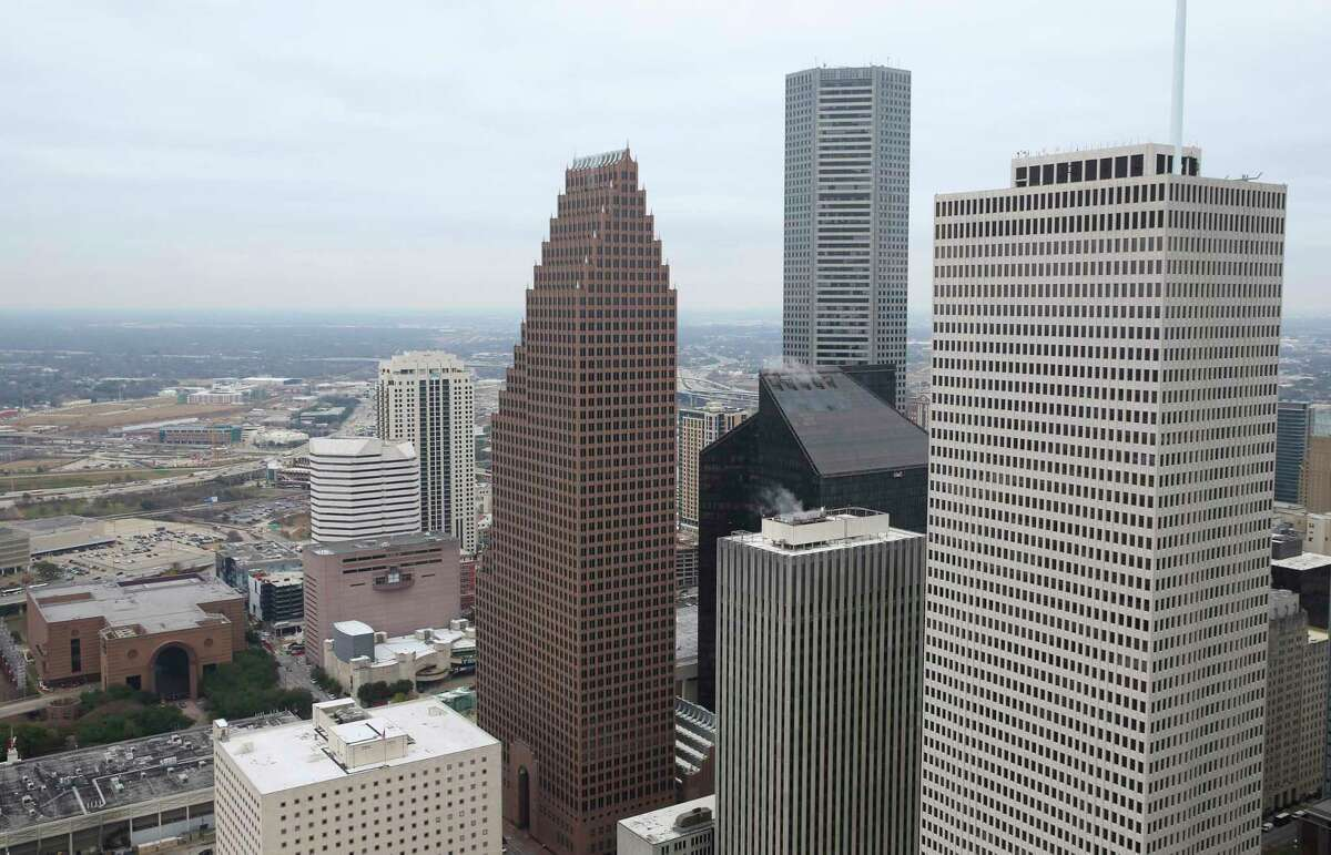 Part of the downtown Houston skyline is seen from the 49th floor of the Heritage Plaza on Wednesday, Jan. 10, 2018, in Houston. ( Yi-Chin Lee / Houston Chronicle )
