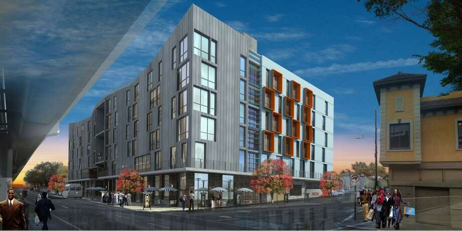 An artist's rendering of a building for affordable housing and businesses run by former prisoners, which would be built by a nonprofit run by former Black Panther leader Elaine Brown. Photo: Oakland & The World / / Oakland & The World