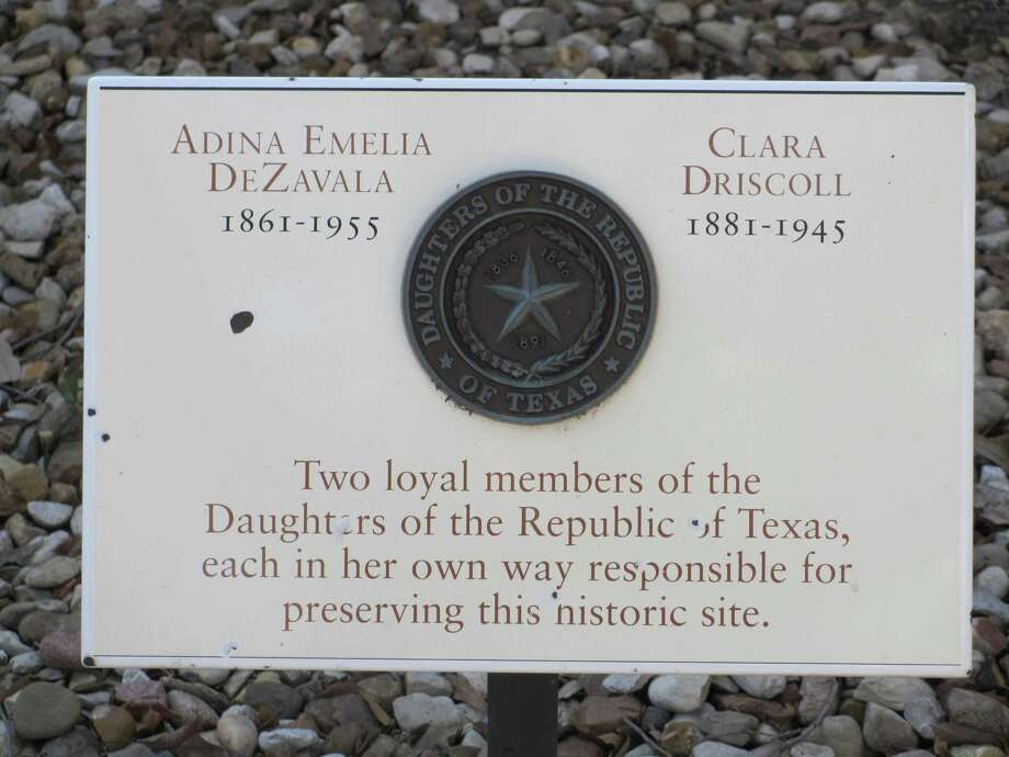 A marker honoring both Adina De Zavala and Clara Driscoll is located near the Long Barrack at the Alamo. They saved the Alamo, and the Daughters of the Republic of Texas made it the compelling historical site it is today. Photo: Staff File Photo
