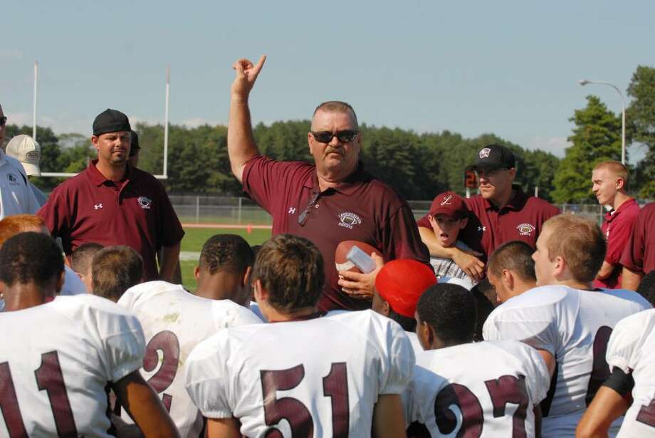 First-year head coach Al McNall talks to his Lansingburgh team defeated Hudson Falls to open the season in Hudson. (Michael P. Farrell / Times Union) Photo: MICHAEL P. FARRELL / 00005339A