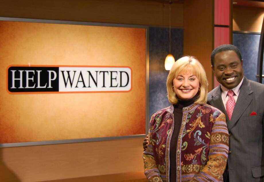 """Liz Ayers of WCNY in Syracuse and Dan Bazile on the WMHT """"Help Wanted"""" set. Bazile is host/producer and Ayers provides field reporting.(Courtesy Caitlin Pompo)"""
