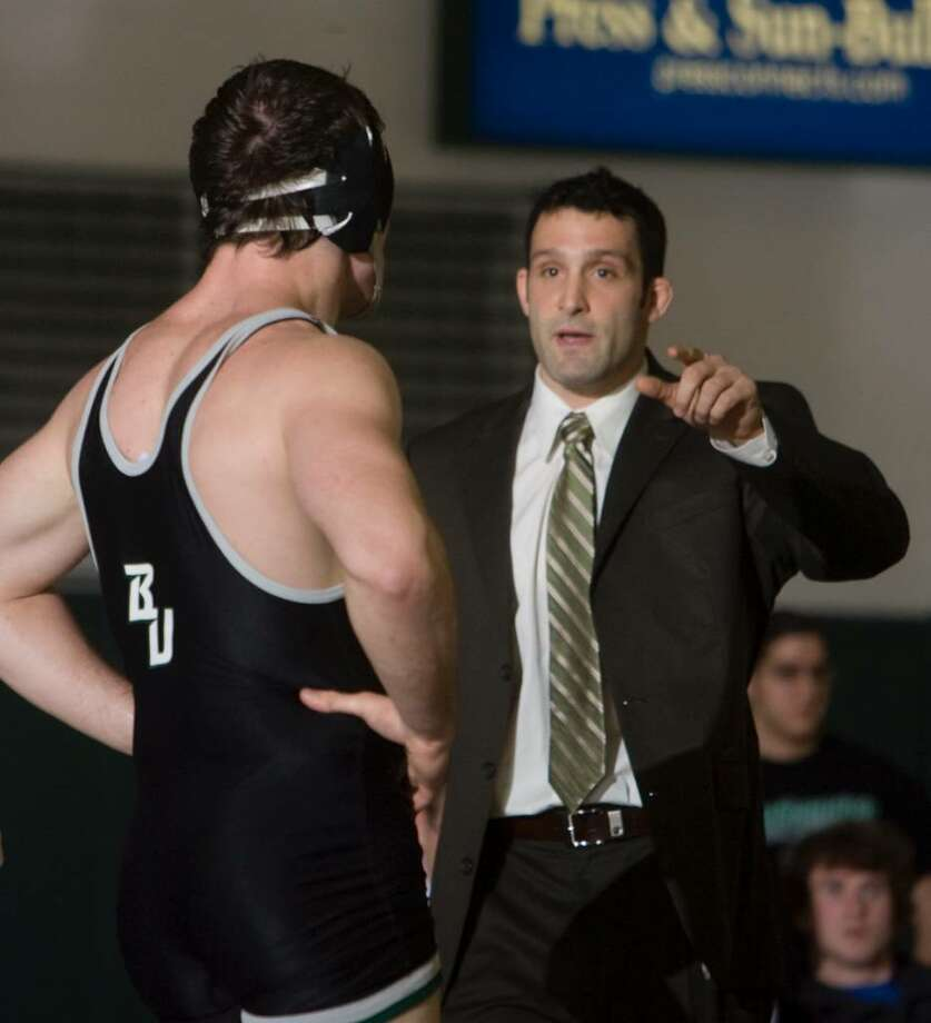 Pat Popolizio, a Niskayuna native, turned around the Binghamton University wrestling program as head coach and produced its first All-American. He is one of three finalists for the head coaching position at Division I power Northern Iowa. (Binghamton University archive) Photo: JONATHAN COHEN / JONATHAN COHEN/BINGHAMTON UNIVERSITY