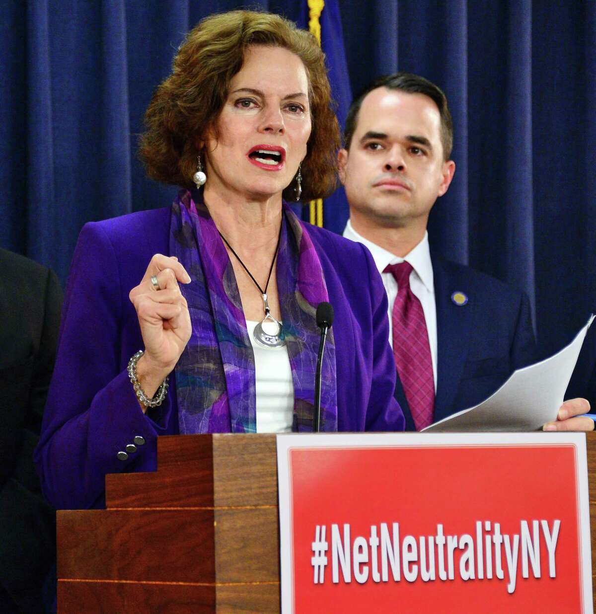 Co-sponsors of legislation to enforce net neutrality in New York State, Assemblymember Patricia Fahy, left, and Senator David Carlucci speak during a news conference Tuesday Jan. 23, 2018 in Albany, NY. (John Carl D'Annibale/Times Union)