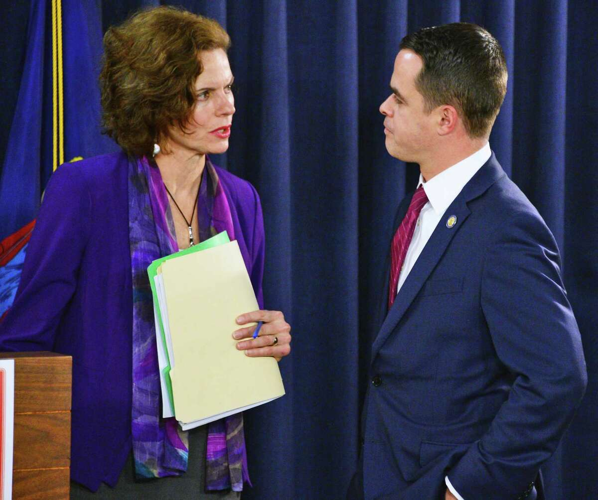 Co-sponsors of legislation to enforce net neutrality in New York State, Assemblymember Patricia Fahy, left, and Senator David Carlucci before a news conference Tuesday Jan. 23, 2018 in Albany, NY. (John Carl D'Annibale/Times Union)