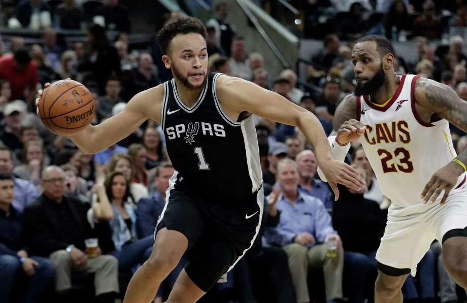San Antonio Spurs forward Kyle Anderson (1) drives around Cleveland Cavaliers forward LeBron James (23) during the second half of an NBA basketball game, Tuesday, Jan. 23, 2018, in San Antonio. San Antonio won 114-102. (AP Photo/Eric Gay) Photo: Eric Gay, Associated Press / Copyright 2018 The Associated Press. All rights reserved.