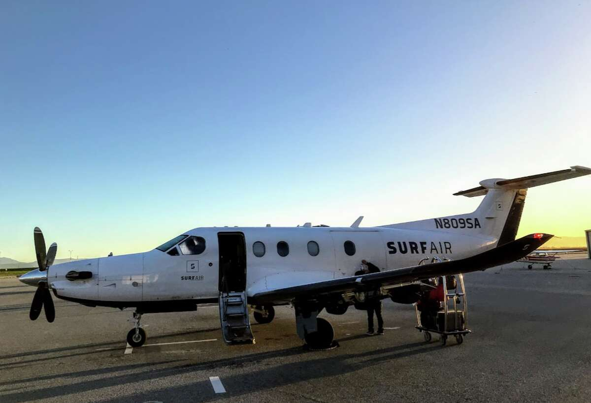 Surf Air Pilatus PC-12 plane with an enormous four-blade prop and seats for 8 passengers.