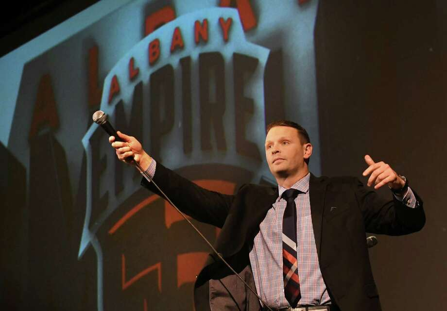 "Head Coach Rob Keefe leads the crowd with a small chant as he speaks during a news conference at the Palace Theater to reveal ""Albany Empire"" as the name of the Arena Football League team based at Times Union Center on Tuesday, Jan. 23, 2018 in Albany, N.Y. (Lori Van Buren/Times Union) Photo: Lori Van Buren / 20042721A"