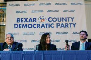 The three Democratic candidates for Precinct 2 on Bexar County Commissioners Court — Paul Elizondo (from left), Queta Rodriguez and Mario Bravo — held their first debate of the campaign on Tuesday evening.