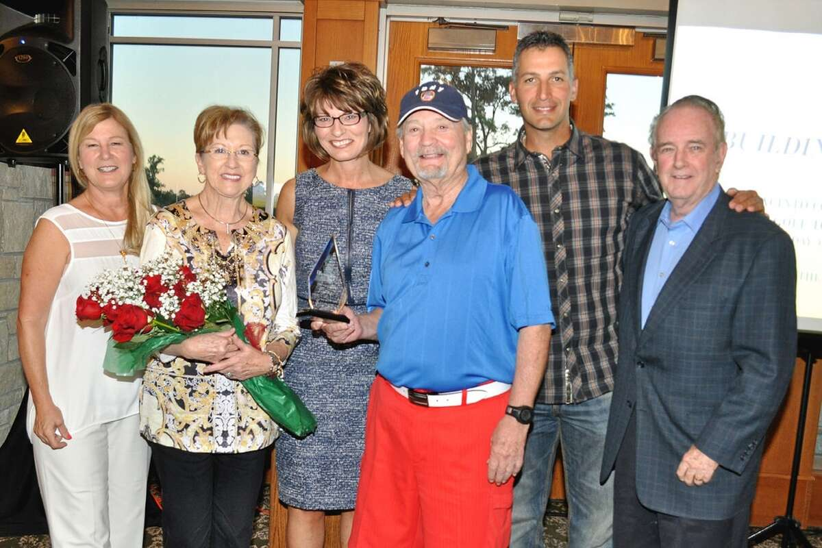 Roy and Sue Mease were presented with the San Jacinto College Foundation Legacy Award at this year�?s golf tournament. Pictured, left to right: Ruth Keenan, executive director, San Jacinto College Foundation; Sue Mease; Dr. Brenda Hellyer, Chancellor, San Jacinto College; Roy Mease; Andy Pettitte; and Johnny Isbell, Mayor, City of Pasadena. Photo credit: Andrea Vasquez, San Jacinto College marketing, public relations, and government affairs department.