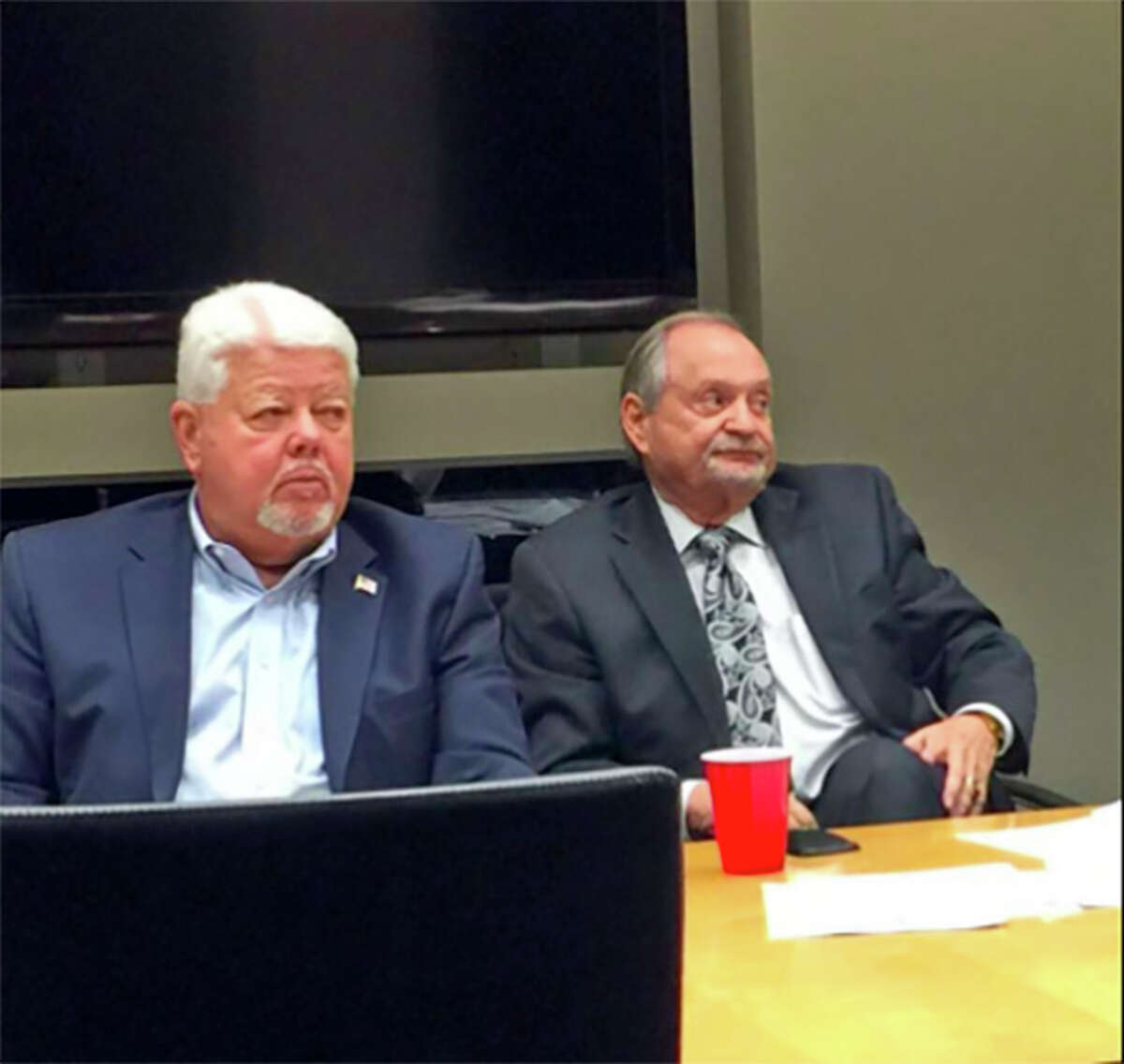 The terms have expired for all members of Pasadena's economic development corporation, including chairman Roy Mease, left, and Brad Hance. That has led to a halt on all projects by the group, known as the Pasadena Second Century Corp.