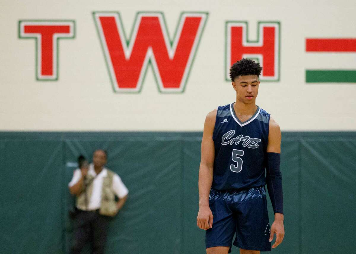 College Park guard Quentin Grimes (5) reacts after a made free-throw by The Woodlands during the first quarter of a District 12-6A high school basketball game at The Woodlands High School, Tuesday, Jan. 23, 2018, in The Woodlands.