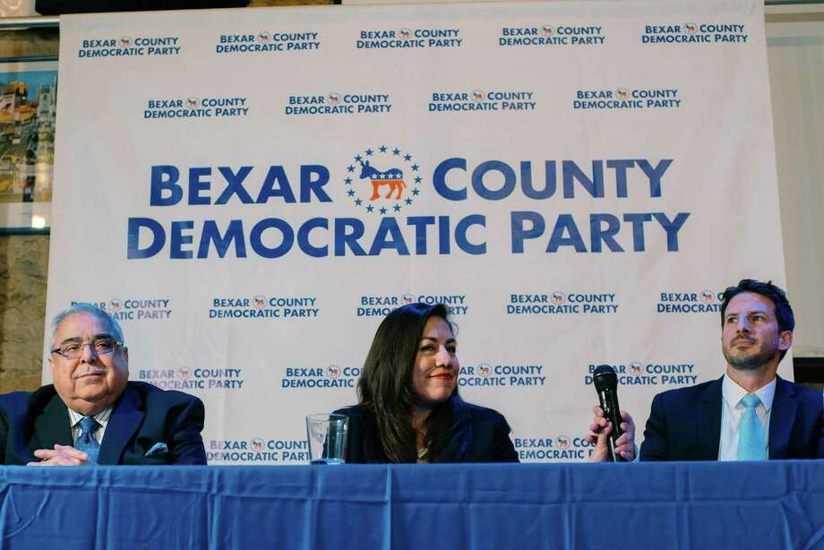 The three Democratic candidates for Precinct 2 on Bexar County Commissioners Court, Paul Elizondo (from left), Queta Rodriguez and Mario Bravo, met for their first debate of the campaign at Cadillac Bar on Jan. 23, 2018. Photo: Tito West /For The San Antonio Express-News / Tito West