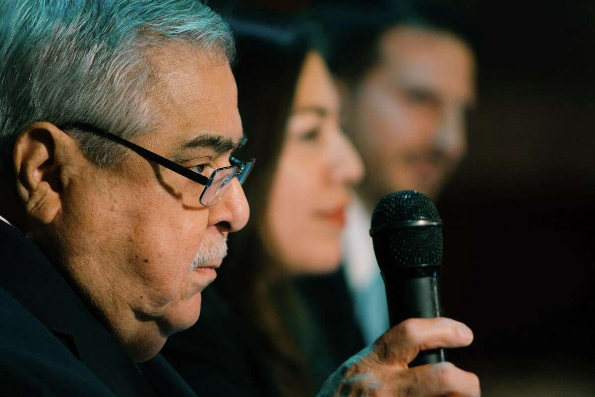 Longstanding Bexar County Commissioner for Precinct 2, Paul Elizondo, defends his seat against campaign opponents, Queta Rodriguez and Mario Bravo, during a debate at Cadillac Bar on Tuesday night, January 18, 2018.