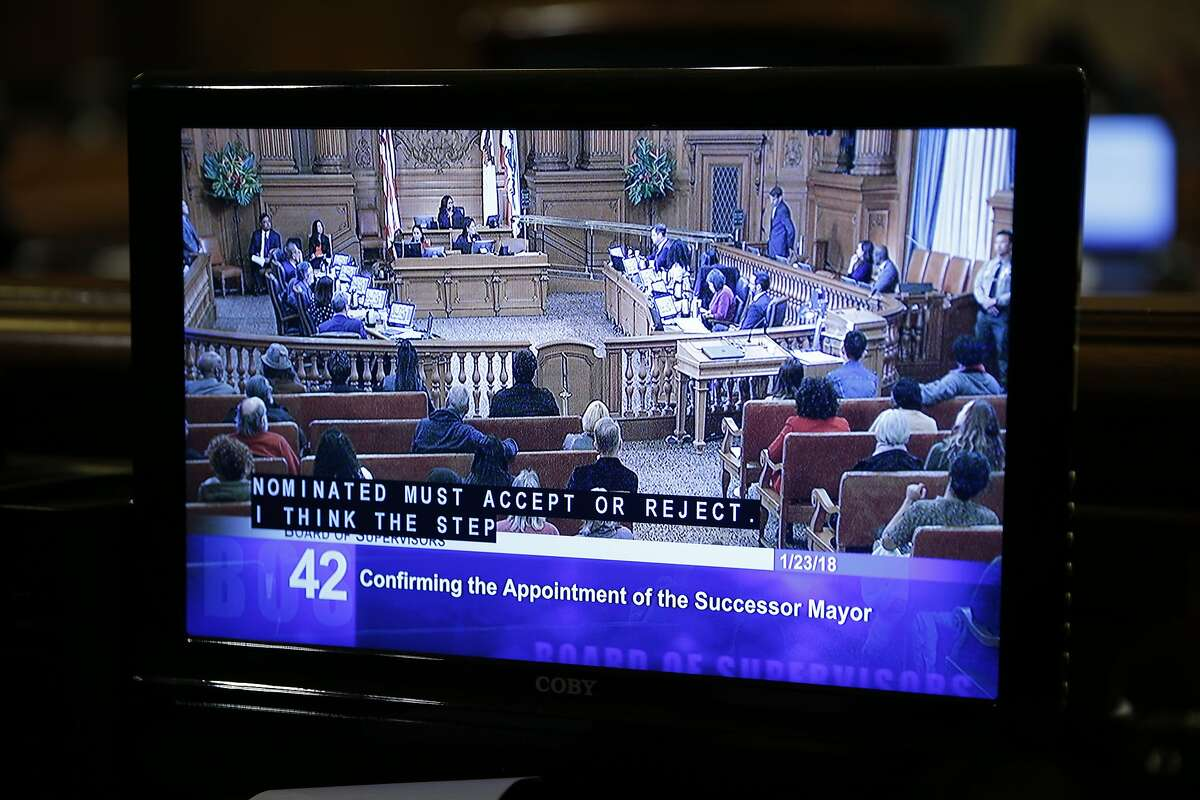 The Board of Supervisors during a meeting to elect an interim mayor at City Hall, Tuesday, Jan. 23, 2018, in San Francisco, Calif. Board of Supervisors member Mark Farrell was voted interim mayor.
