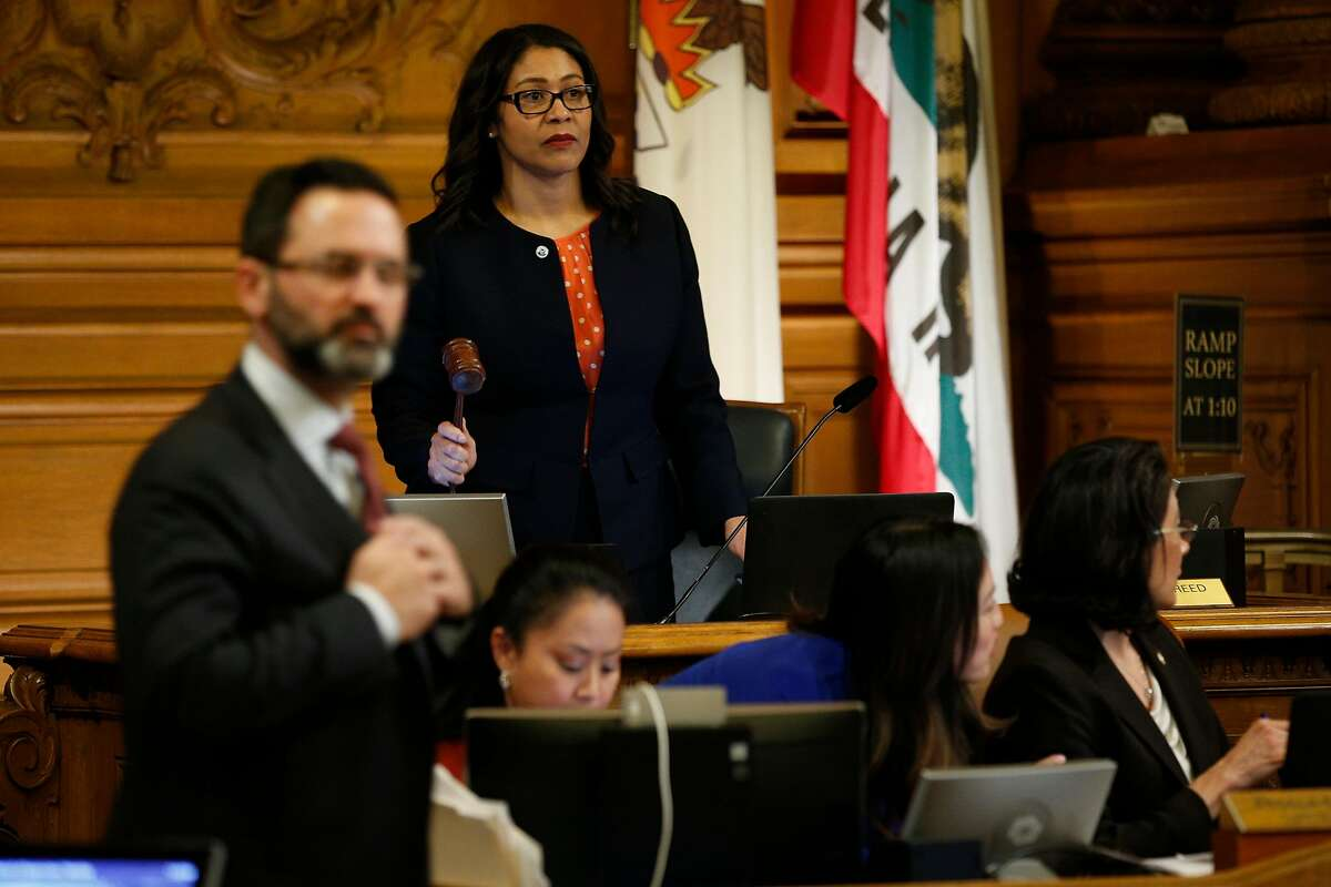 Board of Supervisors president London Breed at City Hall, Tuesday, Jan. 23, 2018, in San Francisco, Calif. Board of Supervisors member Mark Farrell was voted interim mayor.