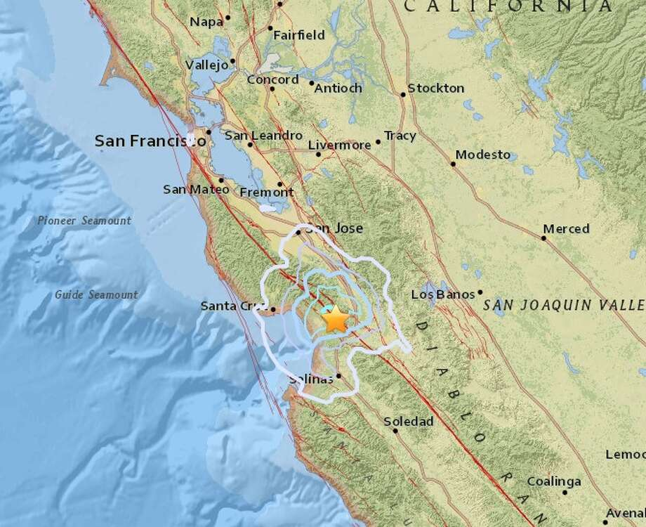 Two earthquakes struck near Watsonville about 10 p.m. Tuesday, Jan. 23, 2018. Photo: USGS