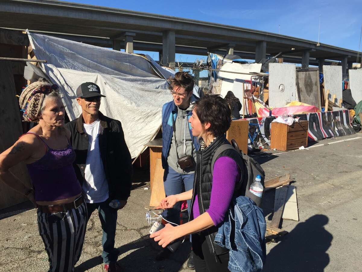 Leilani Farha, the United Nations special rapporteur on adequate housing, on tour of Oakland, Calif., in January 2017.