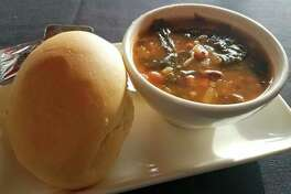 'After a few full spoons worth of this , I set the utensil aside and just drank it. It was that good. It was loaded with black-eyed peas, turnip greens, shredded carrots and onions.' All of the soups at Annabelle's Own, 579 East Isabella Road, Midland, are homemade. (Matthew Woods)