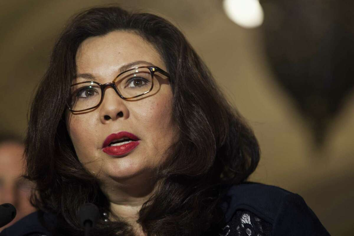 Sen. Tammy Duckworth, D-Ill., during a news conference following a Senate Democratic luncheon in Washington on May 16, 2017.