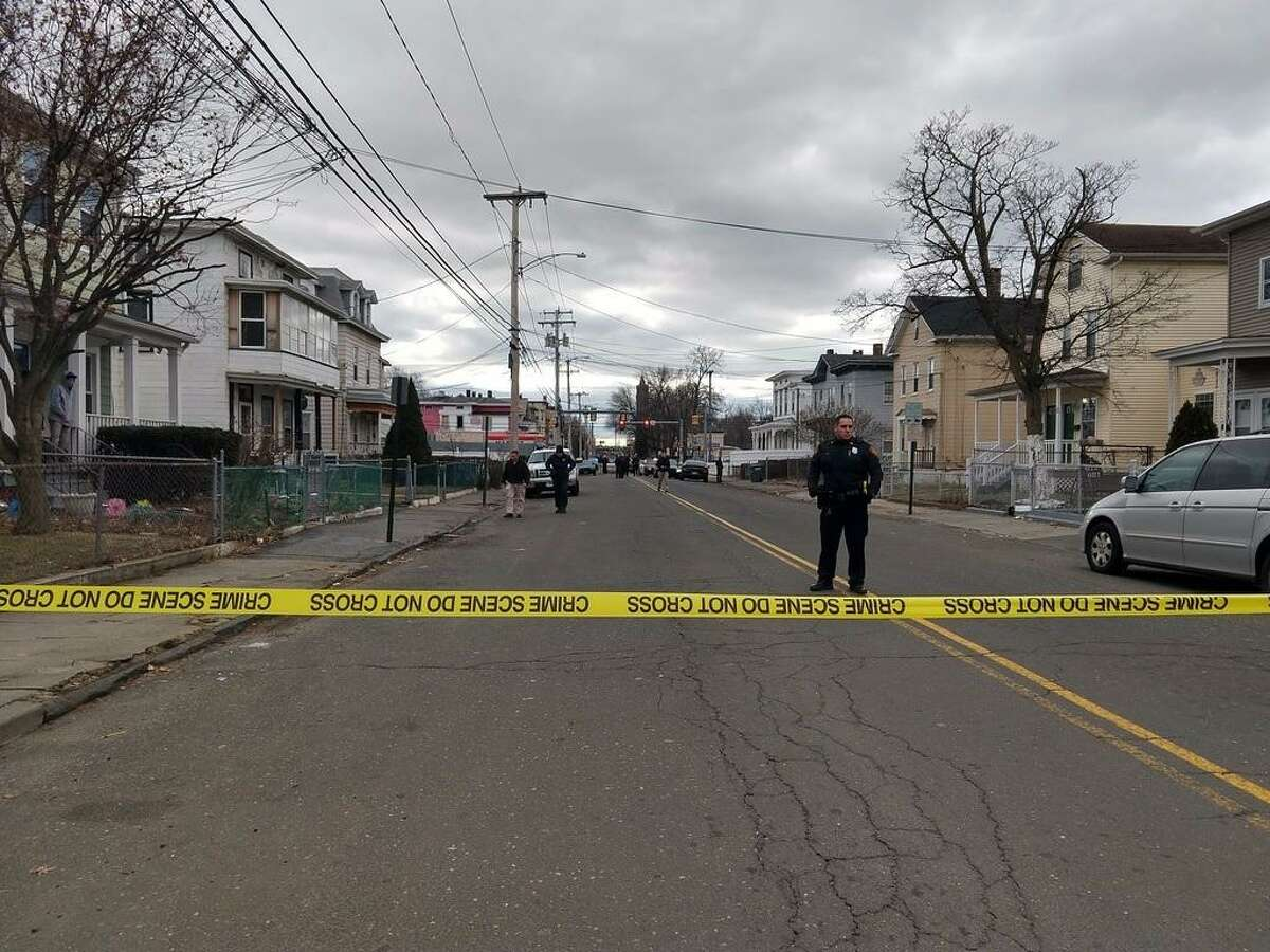 Streets are blocked in the area of Jane Street and Nobel Avenue in Bridgeport on Wednesday, Jan. 24, 2018. Two police officers on a road job were shot at Wednesday just before 10 a.m. Av Harris, police spokesman, said none of the officers were injured.