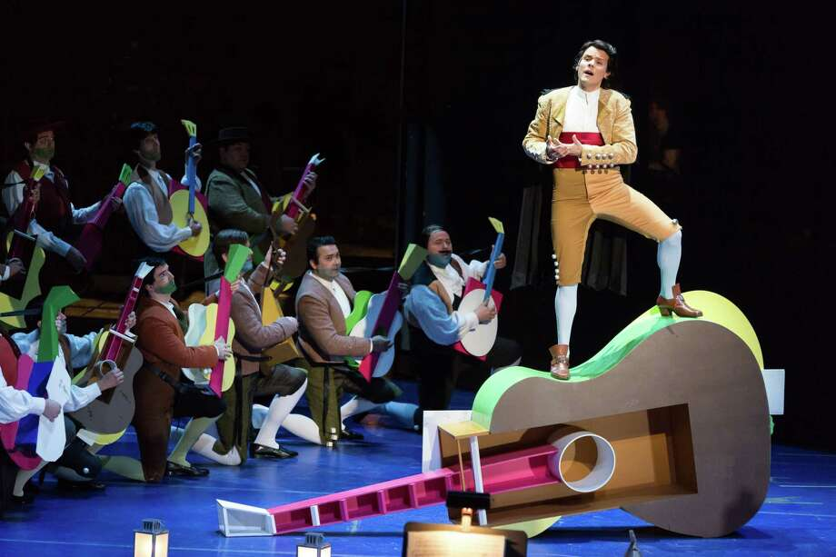 "Scene from a dress rehearsal of the Houston Grand Opera's ""Barber of Seville."" Photo: Lynn Lane"