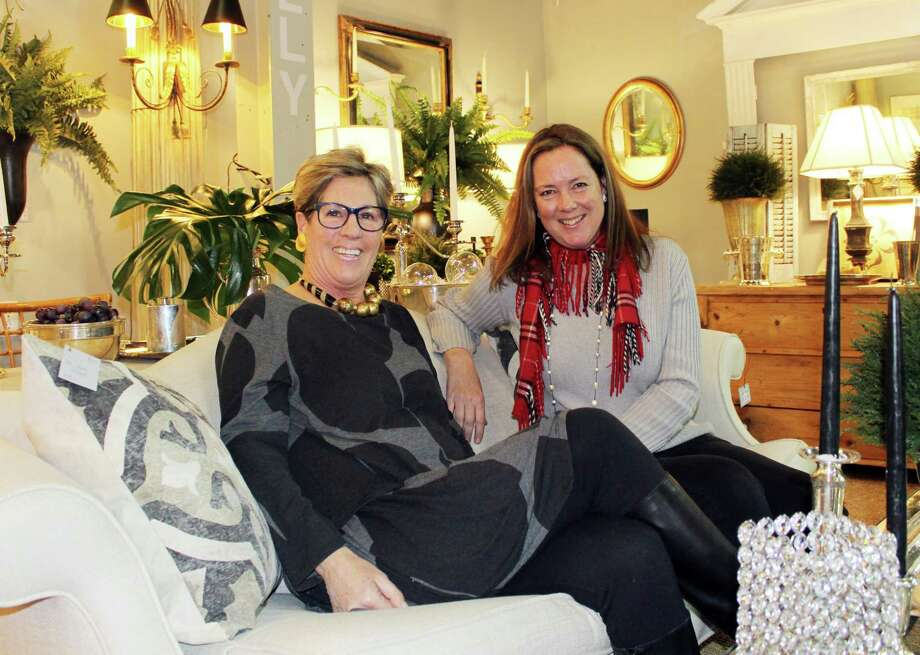 "Lynn Hamlen (left) and Kimberly Ryan Ekern in Hamlen's store ""Folly"" in the Fairfield County Anitque and Design Center in Norwalk, Conn. on Jan. 19, 2018 Photo: Erin Kayata / Hearst Connecticut Media / Darien News"