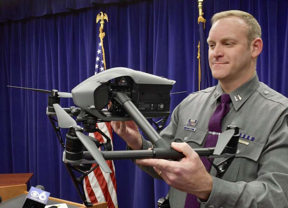 Captain Scott Reichel discusses the drone program the State Police are launching. The troopers hope to have their pilots trained by march.  Photo: Skip Dickstein / Times Union
