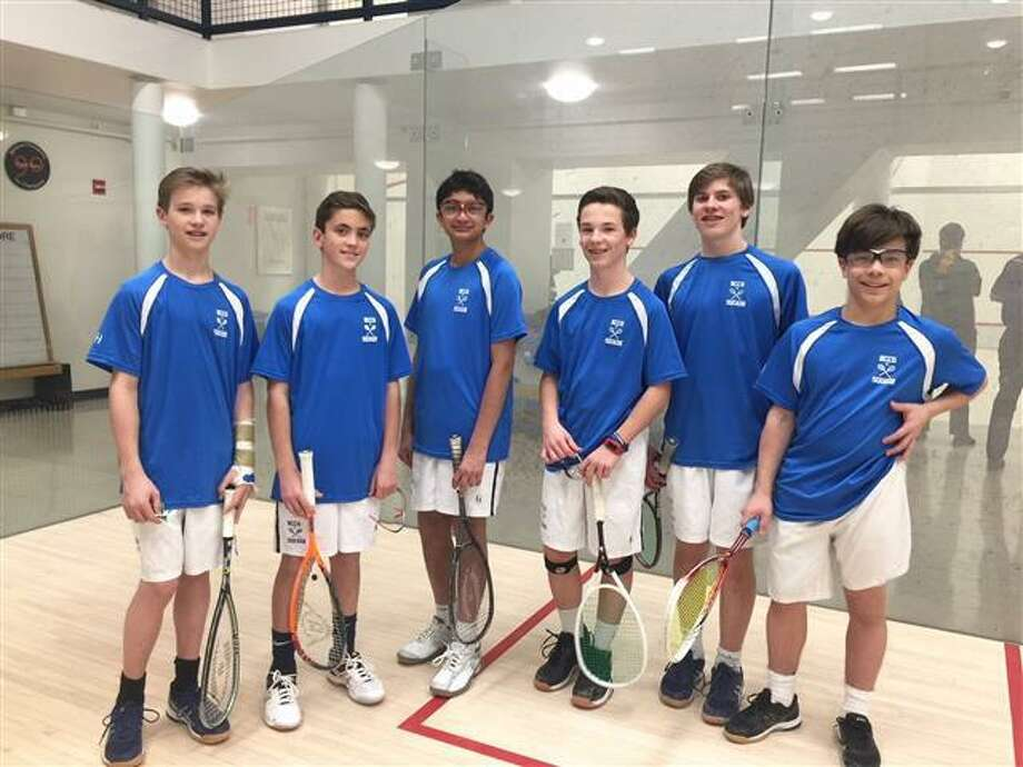New Canaan Country School athletes who earned fourth place Division II honors at the 11th annual U.S. Middle School Team Squash Championships held at Yale University included (from left to right): Stanley Bright (New Canaan), Dean Ambrose (Rowayton), Parakram Karnik (New Canaan), Peter Miller (New Canaan), James Kontulis (New Canaan) and Cody Comyns (New Canaan). Photo: Contributed Photo / Darien News contributed