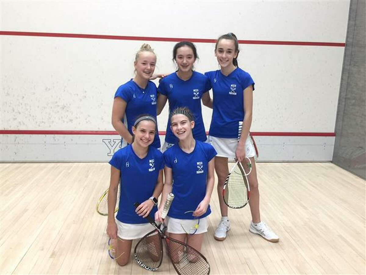 New Canaan Country School athletes who earned fourth place in Division I honors at the 11th annual U.S. Middle School Team Squash Championships held at Yale University included (front row from left) Cece Salvatore (New Canaan), Maeve Baker (New Canaan); (in back row from left) Amanda Miller (New Canaan), Ella Schoonmaker (Darien) and Mary Duffy (Darien).