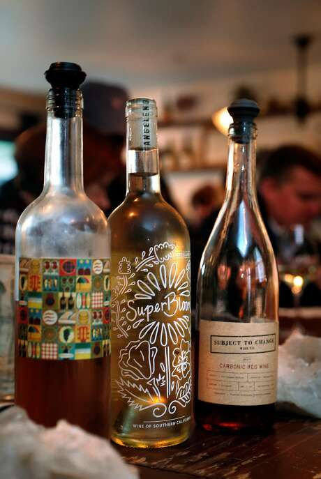 A selection at Fig & Thistle: Humus rosé (left); SuperBloom white blend; and Subject to Change carbonic red wine. Photo: Carlos Avila Gonzalez, The Chronicle