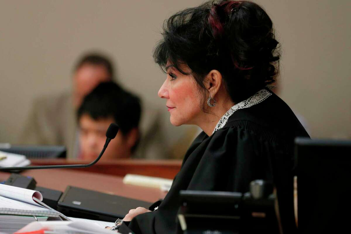 Judge Rosemarie Aquilina watches victims as former Michigan State University and USA Gymnastics doctor Larry Nassar listens to impact statements during the sentencing phase in Ingham County Circuit Court on January 24, 2018 in Lansing, Michigan. More than 100 women and girls accuse Nassar of a pattern of serial abuse dating back two decades, including the Olympic gold-medal winners Simone Biles, Aly Raisman, Gabby Douglas and McKayla Maroney -- who have lashed out at top sporting officials for failing to stop him. / AFP PHOTO / JEFF KOWALSKYJEFF KOWALSKY/AFP/Getty Images