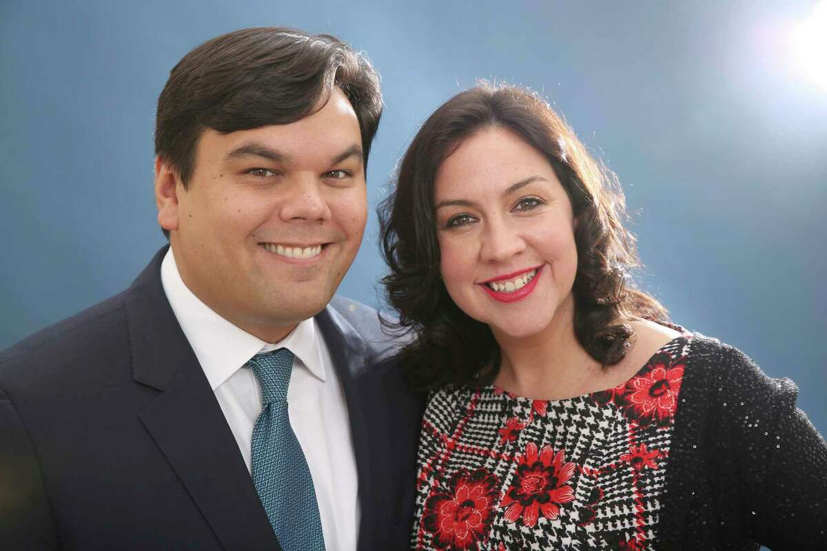 FILE - In this Feb. 10, 2014 file photo, Robert Lopez and Kristen Anderson-Lopez pose for a portrait at the 86th Oscars Nominees Luncheon in Beverly Hills, Calif. The couple were nominated for an Oscar for their song,