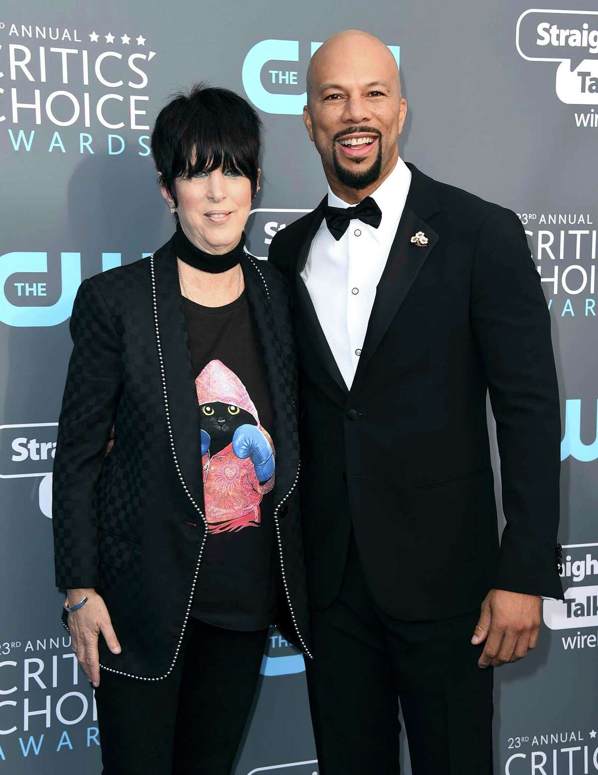 FILE - In this Jan. 11, 2018 file photo, Diane Warren, left, and Common arrive at the 23rd annual Critics' Choice Awards in Santa Monica, Calif. The pair were nominated for an Oscar for best original song for