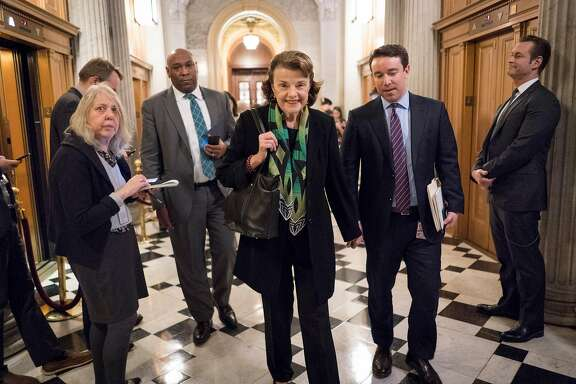 Sen. Dianne Feinstein (D-Calif.) at the Capitol in Washington, Jan. 19, 2018. The Senate is heading toward a showdown vote on Friday on legislation to keep the government open past midnight as Democrats appear ready to block it, gambling that President Donald Trump will offer concessions in the face of a crisis. (Erin Schaff/The New York Times)