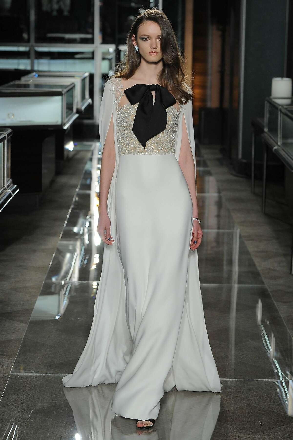Bridal looks with black accents by Reem Acra.