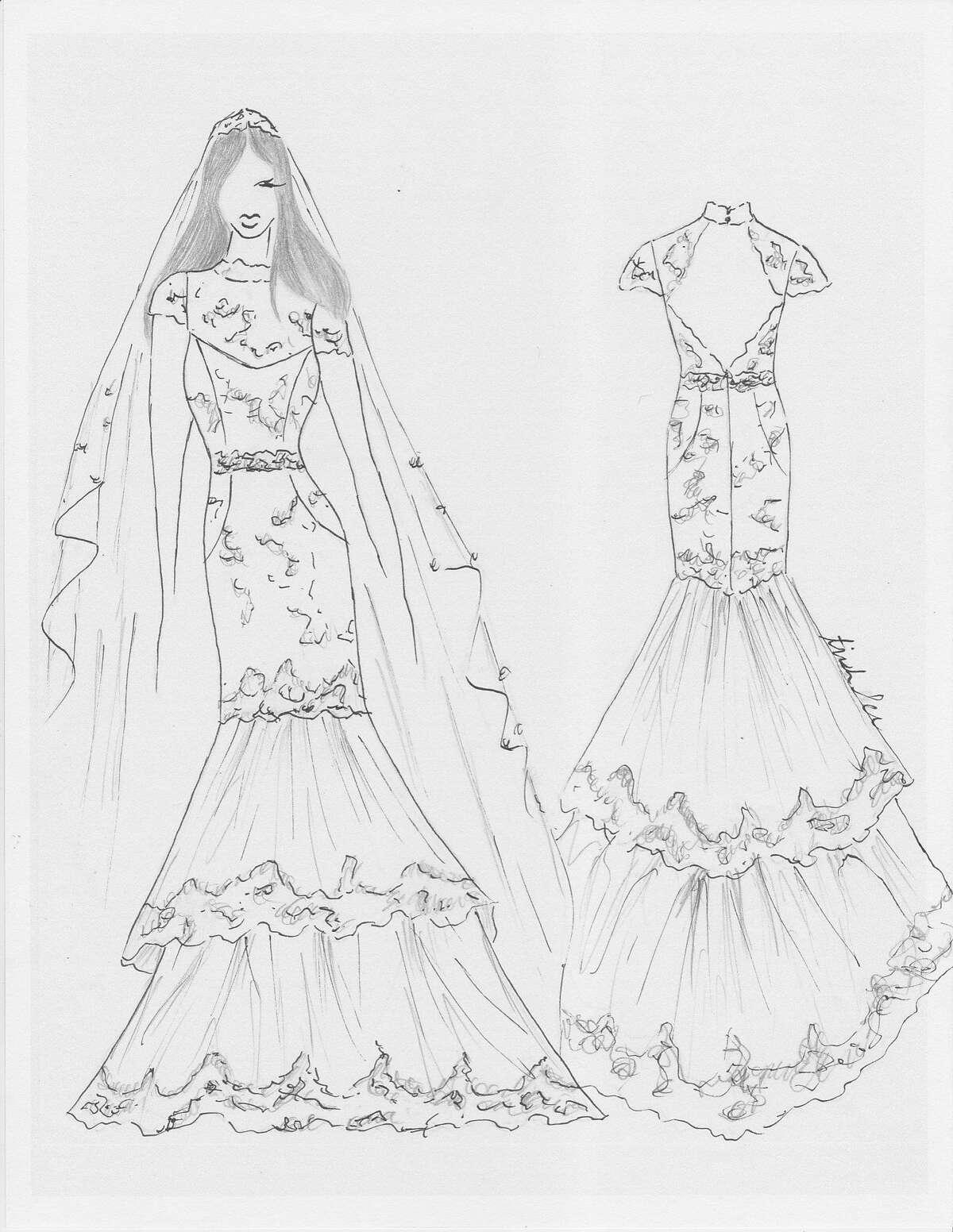 Trish Lee's fantasy bridal design for Meghan Markle.
