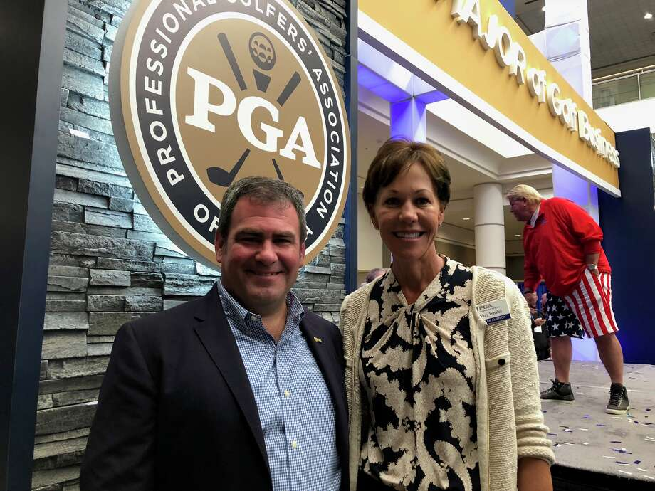Noel Gebauer of Colonie, who serves on the PGA board of directors, with PGA Vice President Suzy Whaley. Gebauer is the general manager and head golf professional at the Town of Colonie golf course. Whaley becomes president of the Professional Golf Association in 2019. Photo: Joyce Bassett, Times Union