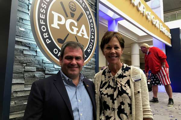 Noel Gebauer of Colonie, who serves on the PGA board of directors, with PGA Vice President Suzy Whaley. Gebauer is based at the Town of Colonie golf course and will be on the board when Whaley becomes president of the Professional Golf Association in 2019.