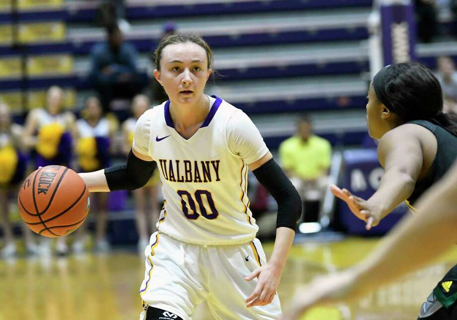 UAlbany's guard Mackenzie Trpcic (00) moves the ball against Vermont during the first half of an NCAA women's college basketball game on Wednesday, Jan. 24, 2018, in Albany, N.Y. (Hans Pennink / Special to the Times Union) Photo: Hans Pennink / 20042739A