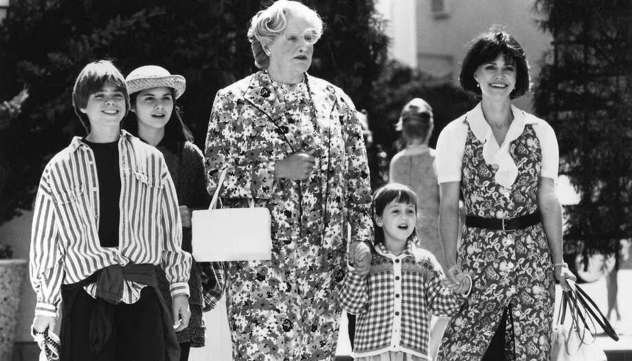 "The Hillard family from the movie ""Mrs. Doubtfire"" is seen in this still with actors (from L to R) Matthew Lawrence, Lisa Jakub, Robin Williams, Mara Wilson and Sally Field. The film celebrated its 25th anniversary and cast members Lawrence, Jakub and Wilson met with Pierce Brosnan on the ""Today"" show to discuss shooting the film and their memories of Williams. Photo: FOX"