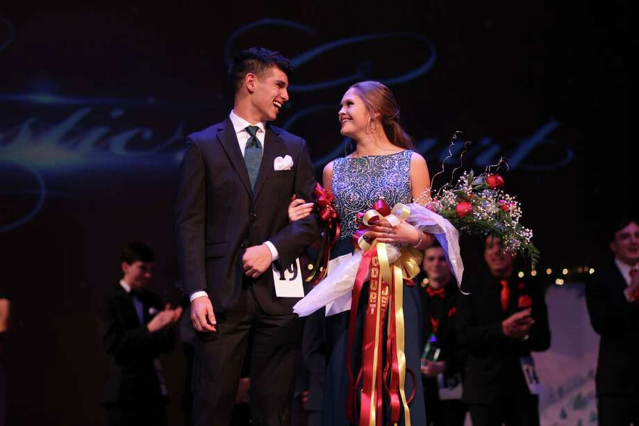 Mateo Saavedra and Savannah Anderson take the stage as members of Deer Park High School's 64th annual Majestic Court.